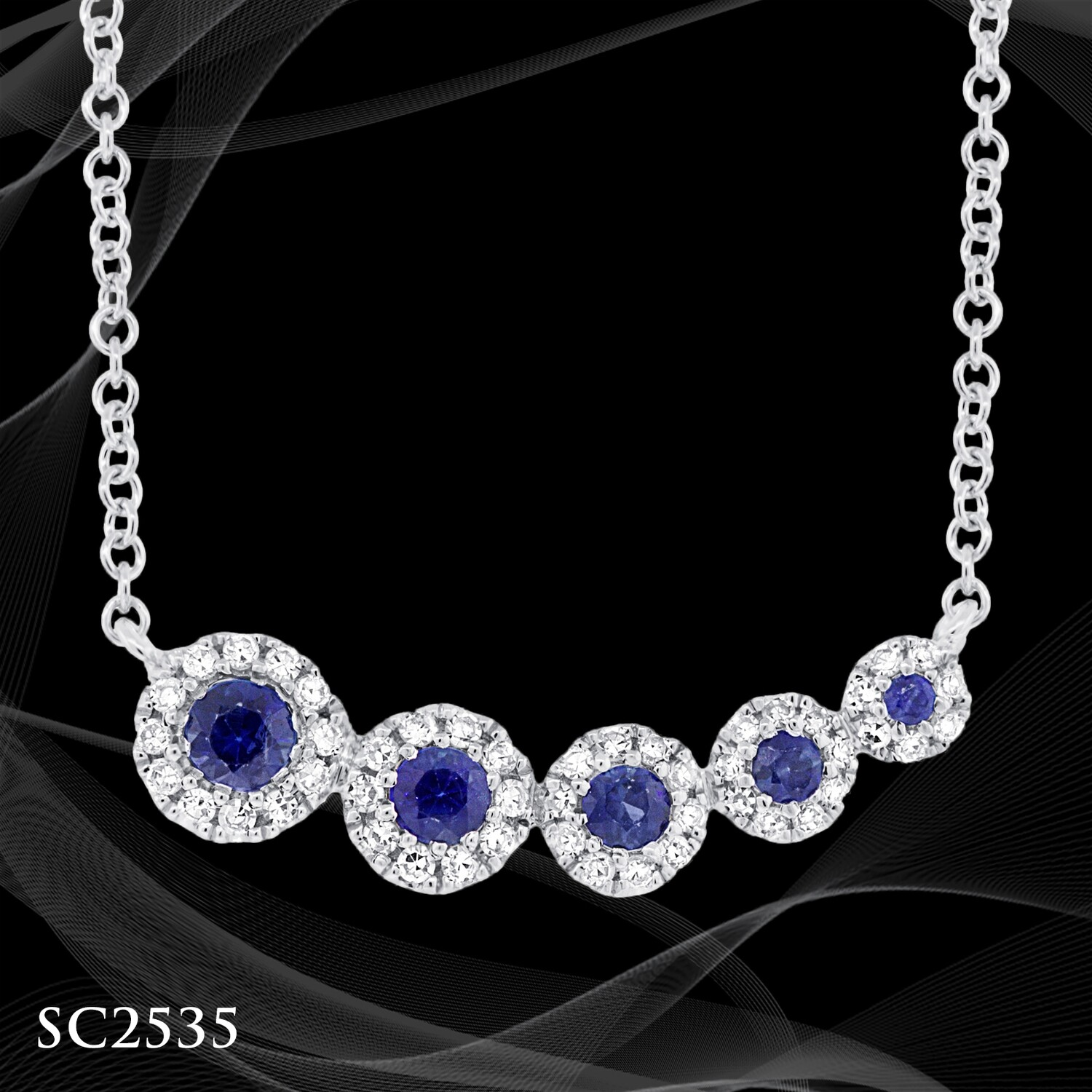 14 Karat White Gold Diamond and Sapphire Pendant