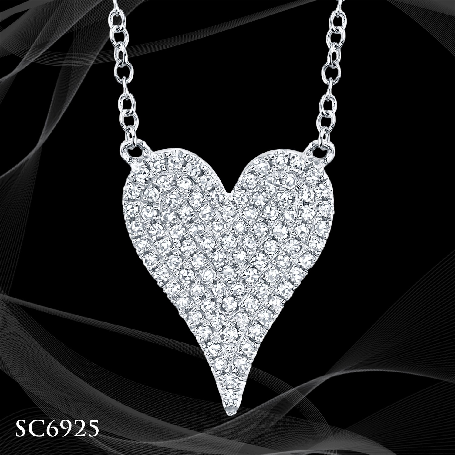 14 Karat White Gold Diamond Pave Heart Necklace