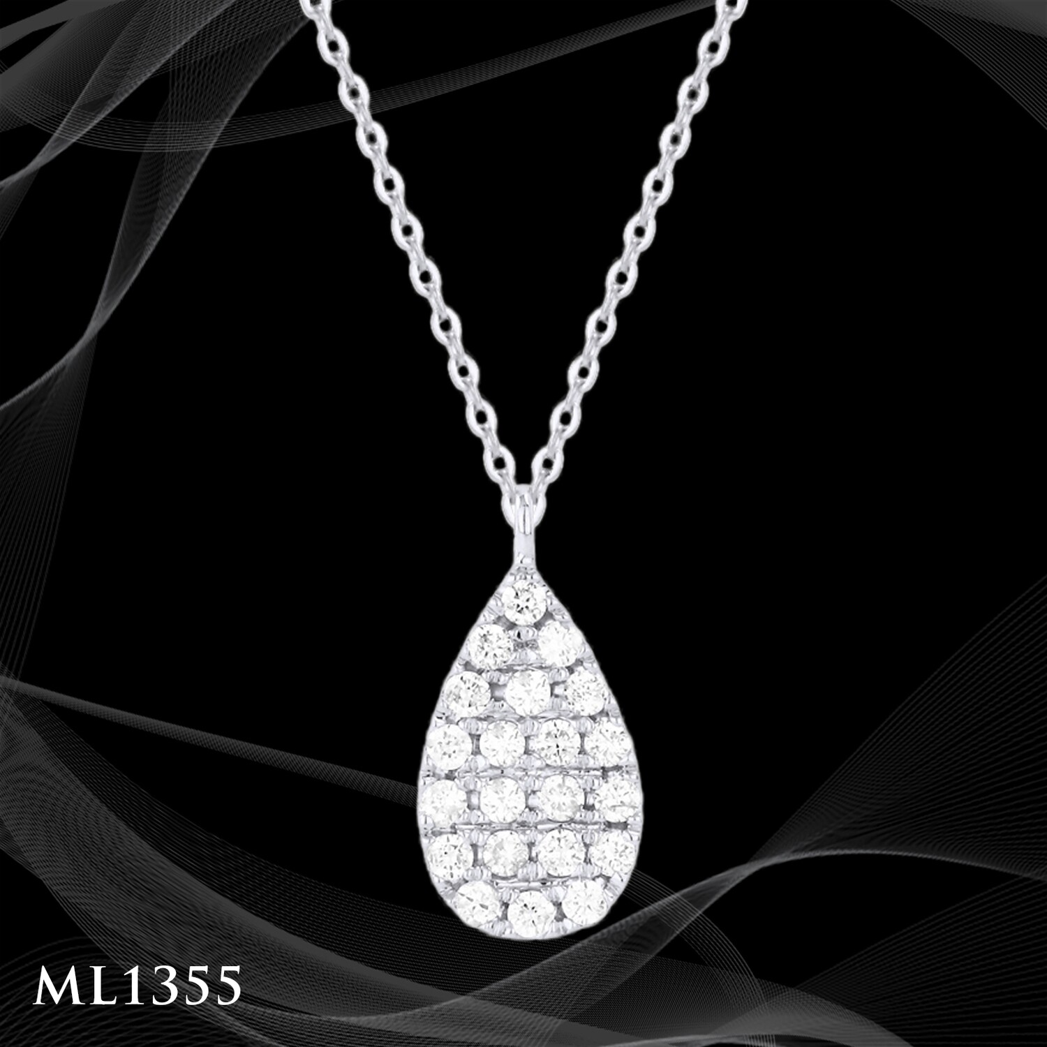 14 Karat White Gold Pear Shape Pave Pendant