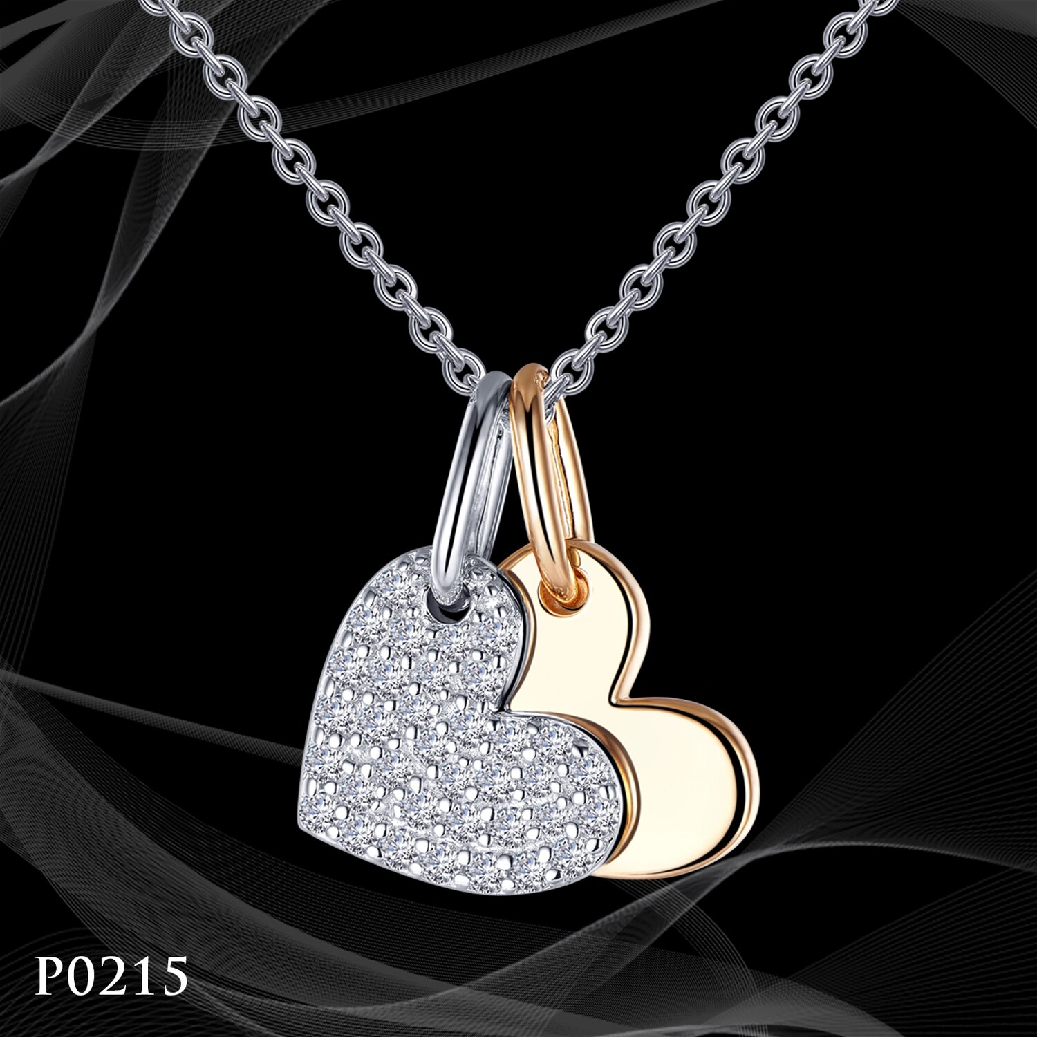 Platinum and Yellow Gold Double Heart Pendant