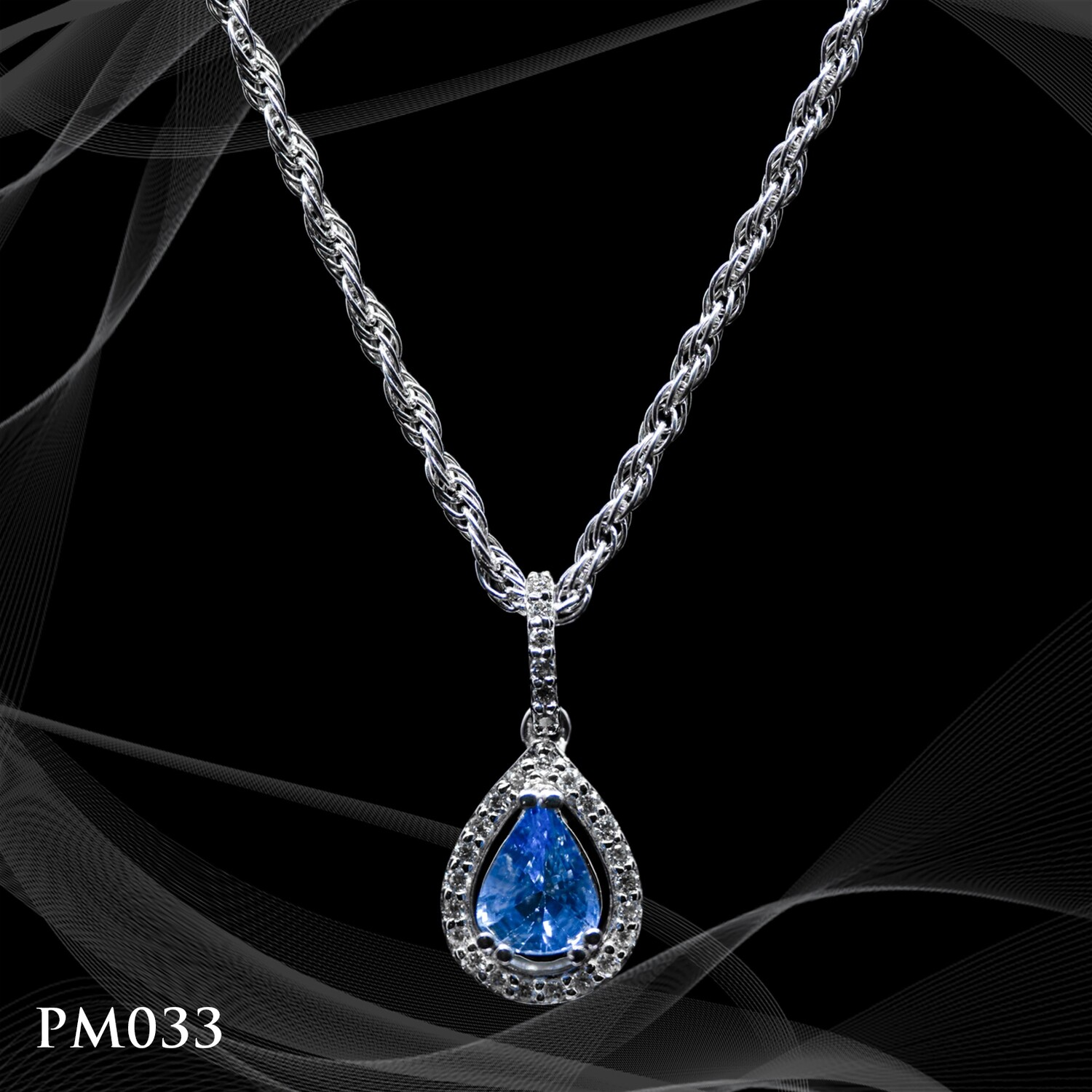 14 Karat Whir Gold Tear Drop Sapphire and Diamond Pendant