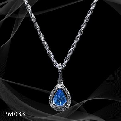 14 Karat Whir Gold Tear Drop Sapphire and Diamond Pendant