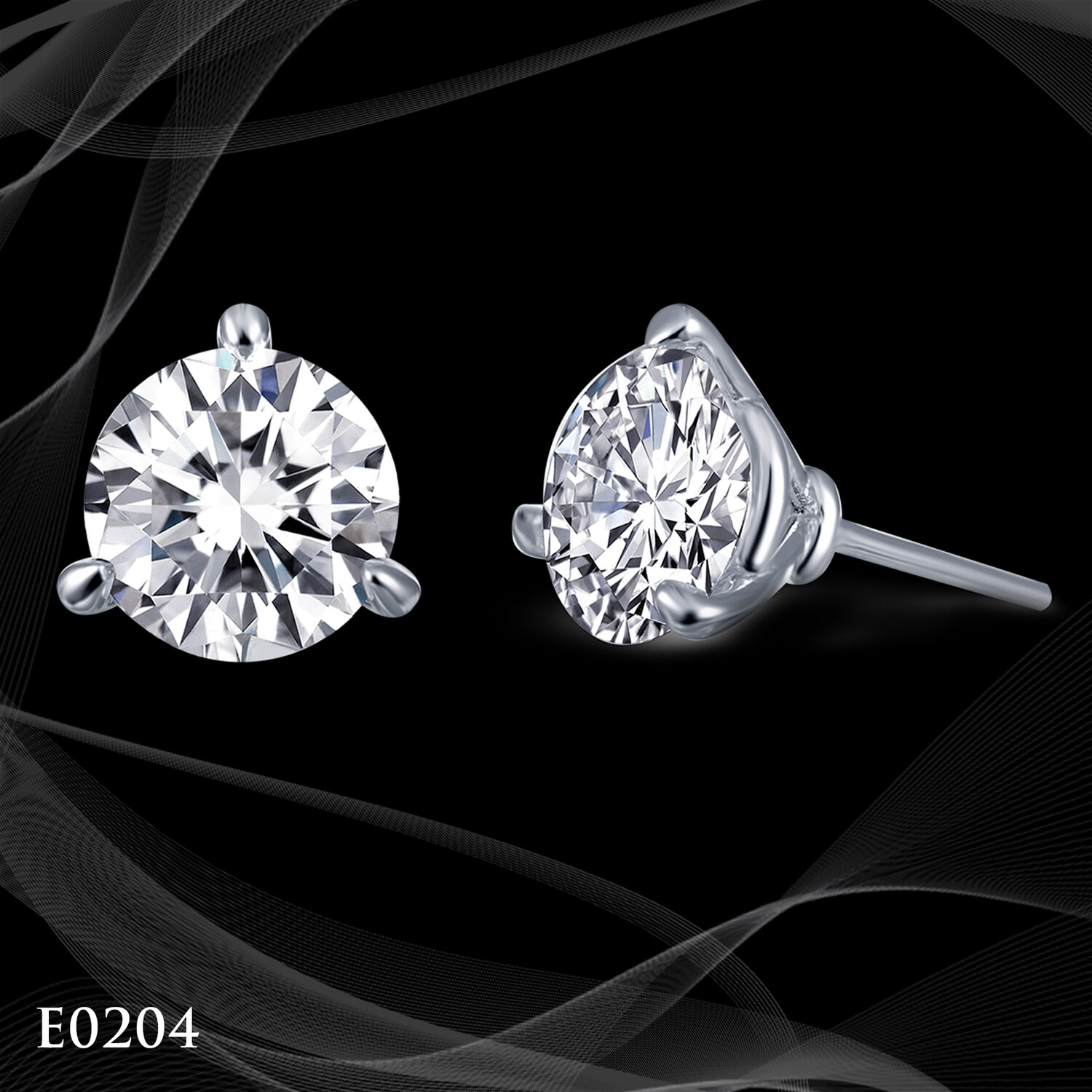 Simulated Martini Studs Platinum Over Silver