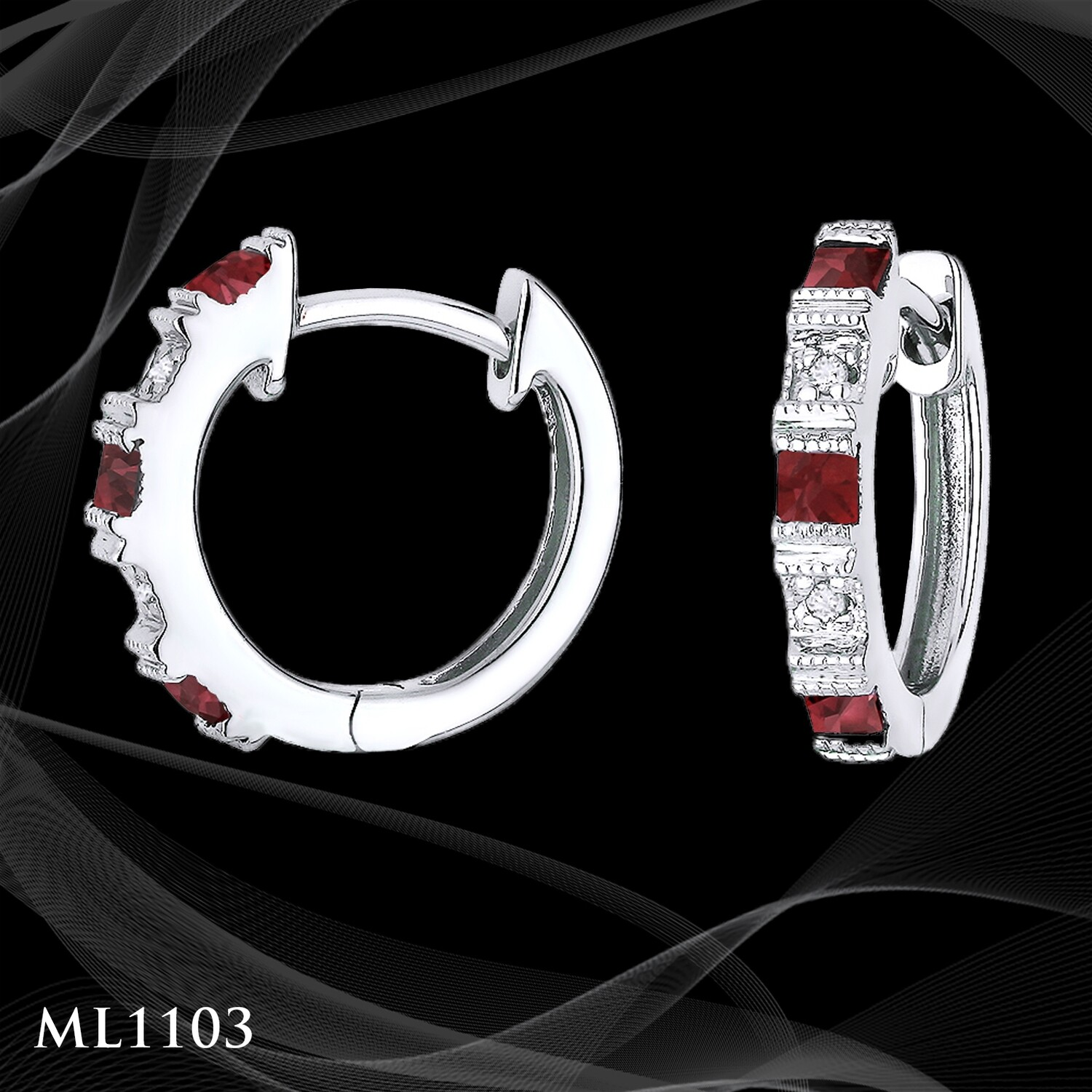 14 Karat white gold diamond and ruby huggie
