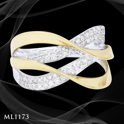 14 Karat two-tone gold and diamond ladies fashion ring