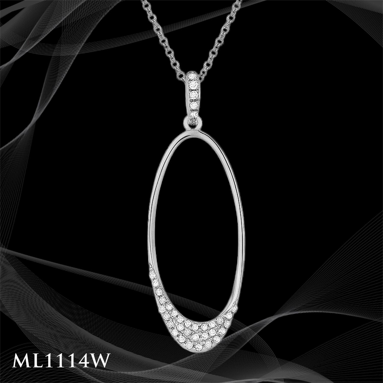 14 Karat white gold diamond oval pendant.