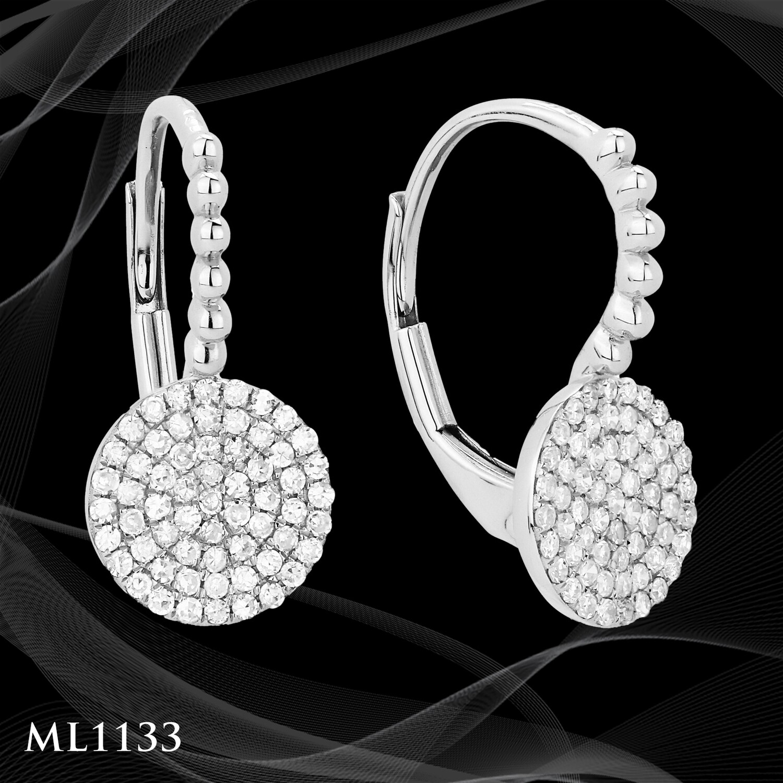 14 Karat white gold diamond pave dangle earrings.