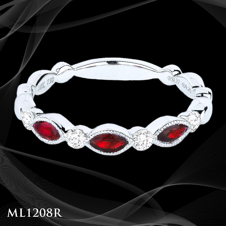 14 Karat white gold ruby and diamond ladies fashion ring