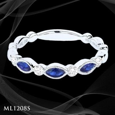 14 Karat white gold sapphire and diamond ladies fashion ring.
