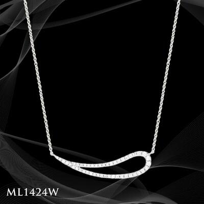 14 Karat white gold diamond pendant.