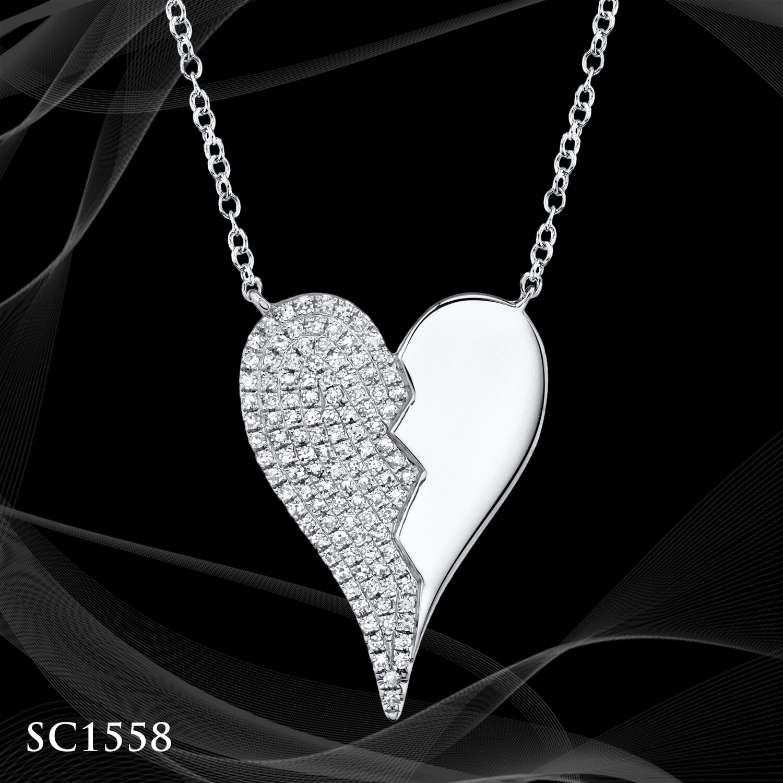 14 KARAT WHITE GOLD DIAMOND PAVE AND HIGH POLISH HEART DESIGNER HEART PENDANT