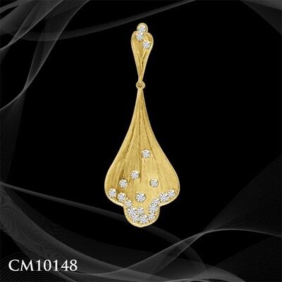 14 KARAT YELLOW GOLD DIAMOND FAN PENDANT