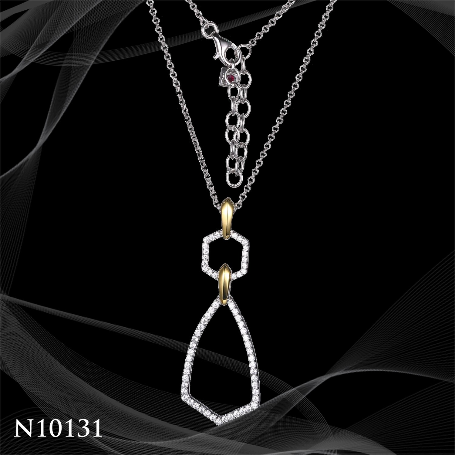 TWO STONE STERLING SILVER AND SIMULATED DIAMOND PENDANT