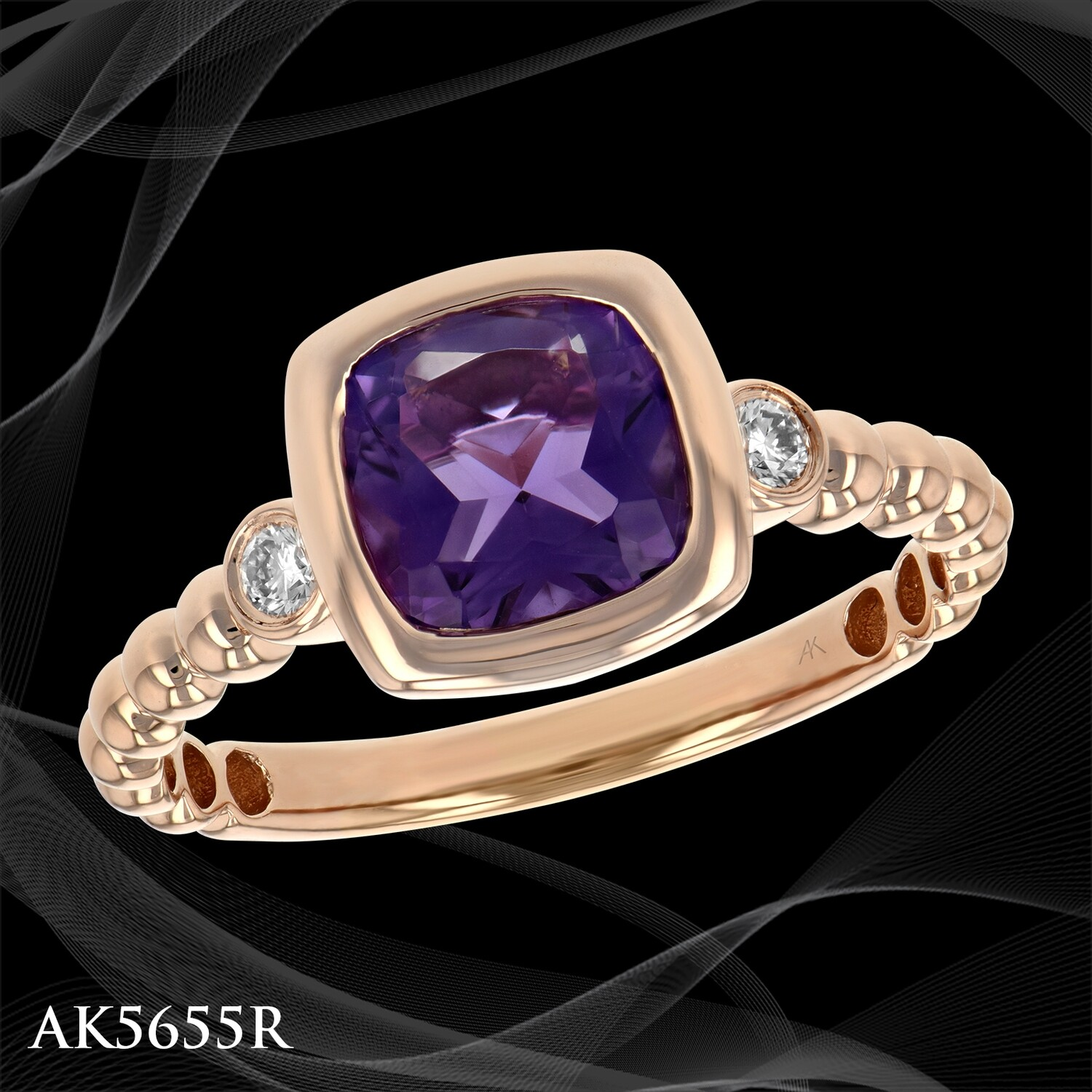 ​14 KARAT ROSE GOLD BEZEL SET CUSHION AMETHYST RING