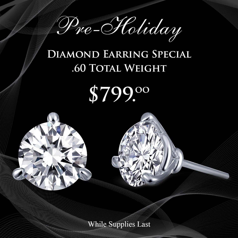 14kt White Gold Martini Style Diamond Earrings