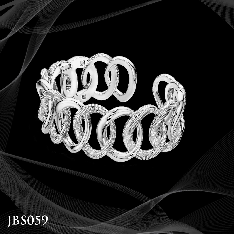Judith Ripka Sterling Silver Interlocking Cuff Bracelet
