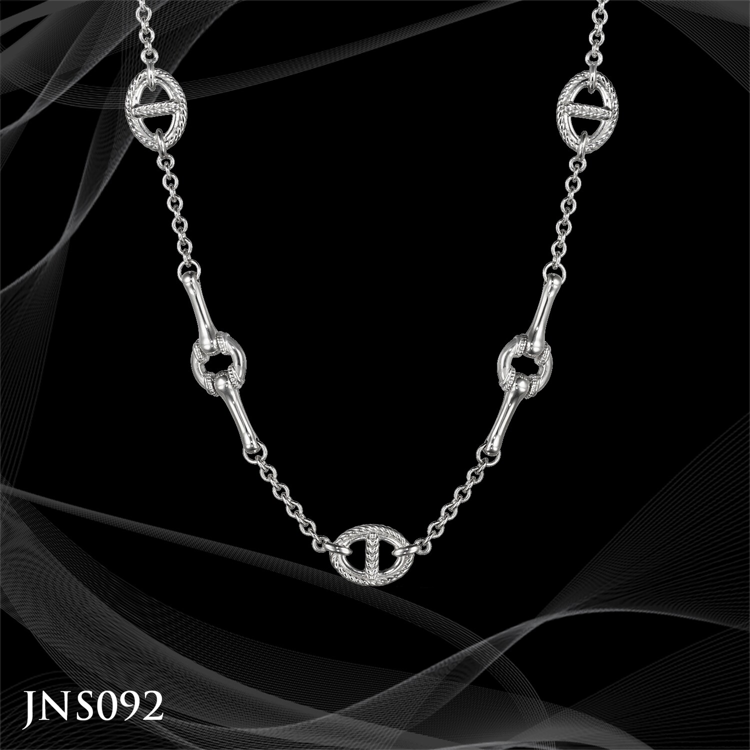 Judtih Ripka Sterling Silver Multi Link Station Necklace