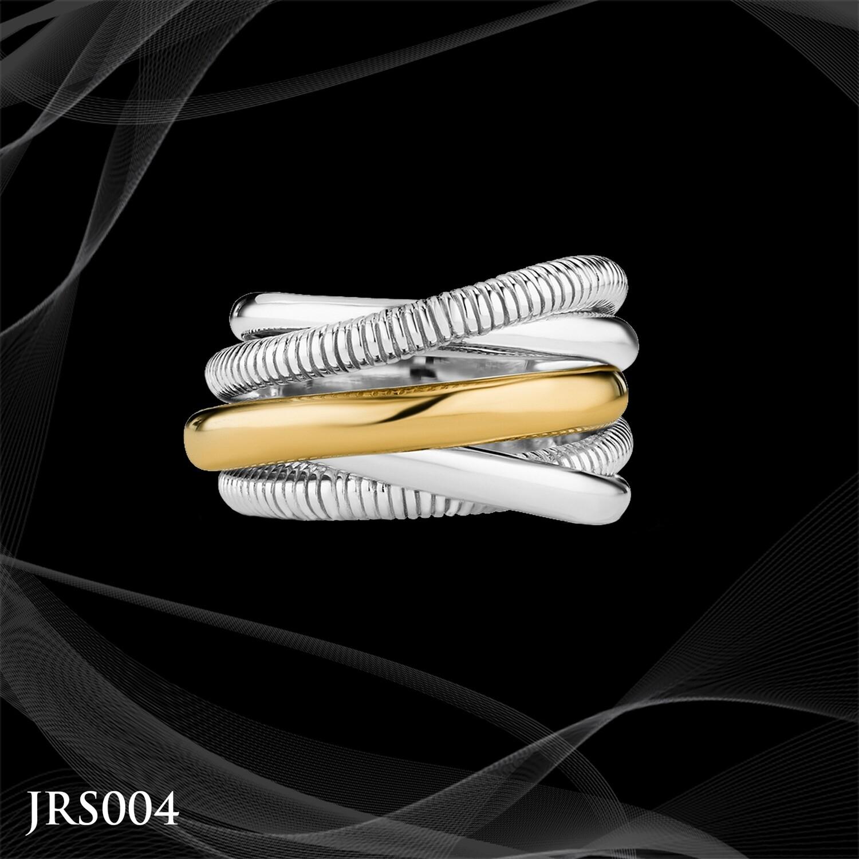 Judith Ripka Sterling Silver and 18 Karat Gold Eternity Highway Ring