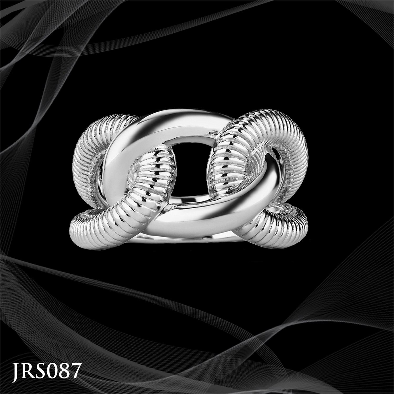 Judith Ripka Sterling Silver Eternity Interlocking Link Ring