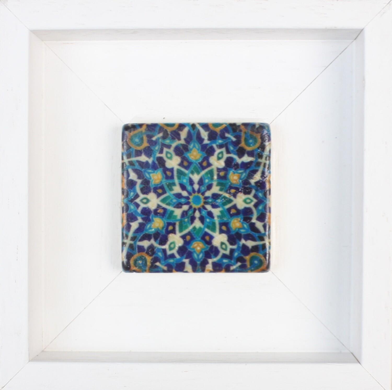 Blue Persian Arabesque Geometric Design Framed Stone Art