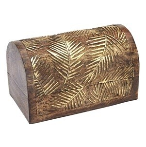 Gold Leaf Carved Wood Chest