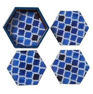 Blue Moorish Hexagonal Coasters