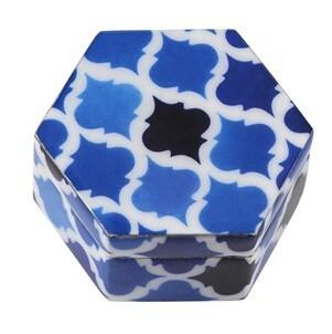 Blue Moorish Hexagonal Trinket Box