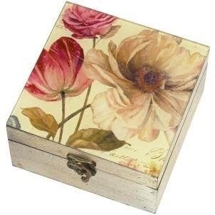Vintage Glass Top Floral Box