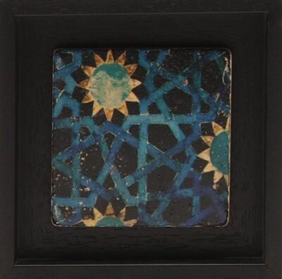 Hexagonal Blue Geometric Design Stone Art