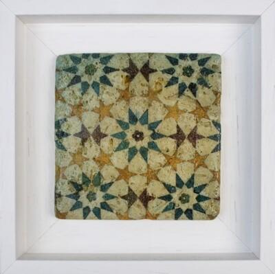 Stars Moroccan Geometric Zellige Mosaic Design Framed Stone Art