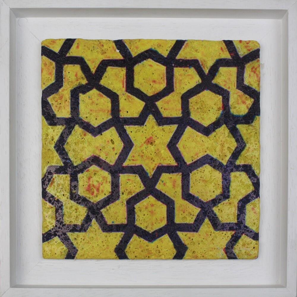 Yellow Geometric Mosaic Design Framed Stone Art