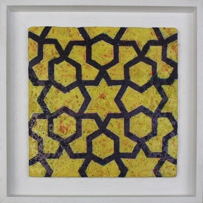 Yellow Geometric Mosaic Design Framed Stone Art