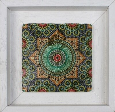 Marrakesh Moroccan Zellige Mosaic Design Framed Stone Art Colourful Saadian Tombs