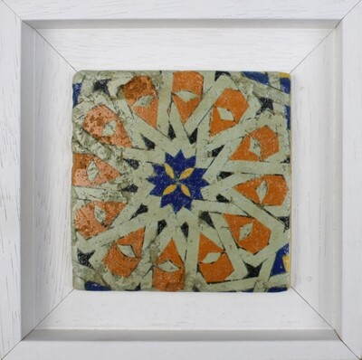 Blue & Orange Persian Girih Style Geometric Design Stone Art
