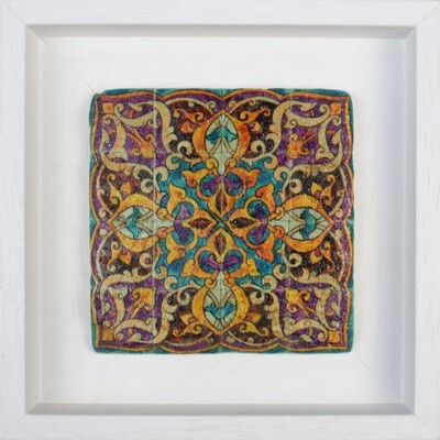 Purple & Turquoise Persian Arabesque Geometric Design Framed Stone Art