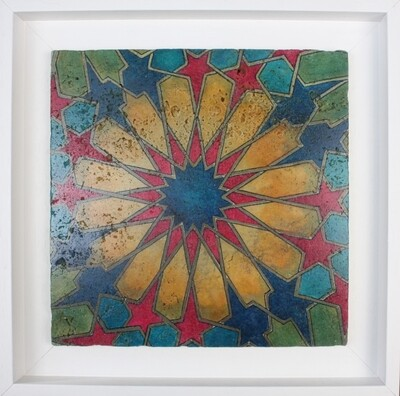 Colourful Morrocan Geometric Arabesque Design Framed Stone Art