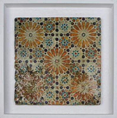 Orange & Brown Moroccan Geometric Zellige Mosaic Design Framed Stone Art