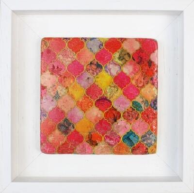 Vibrant Pink Moorish Geometric Design Framed Stone Art