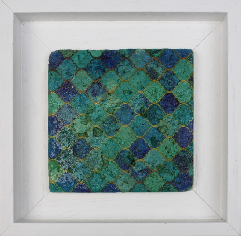 Vibrant Blue Moorish Geometric Design Framed Stone Art