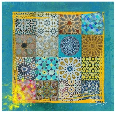 Geometric Patchwork Collage Design Original Giclée Canvas