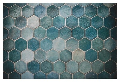 Geometric Turquoise Hexagon Tiles Ceramic Detail Original Giclée Canvas