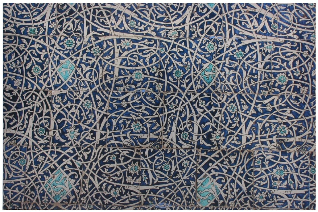 Geometric Turquoise & Blue Persian Arabesque Design Giclée Canvas