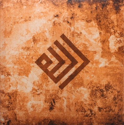 Allah Kufic Rotated Abstract Terracotta Design Original Giclee Canvas