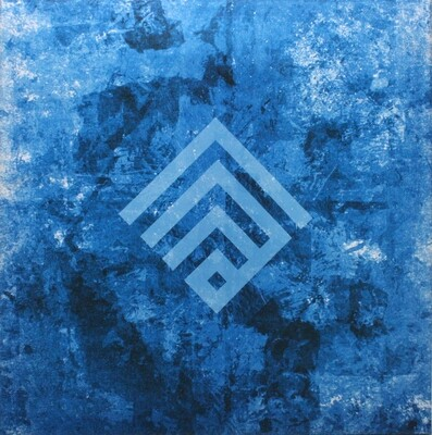 Allah Kufic Rotated Abstract Blue Design Original Giclee Canvas