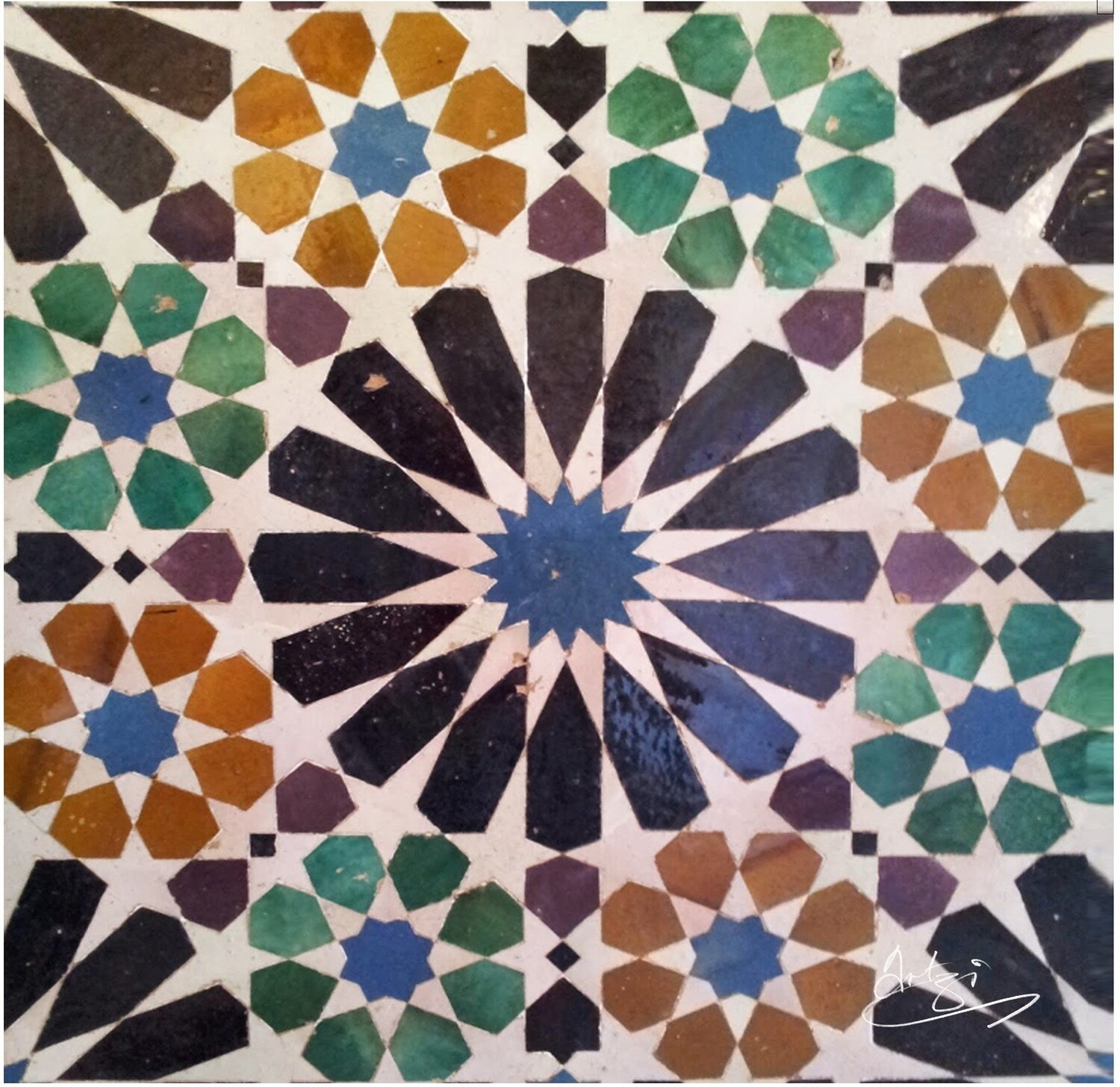 Alicatados Al-Hambra Moorish Geometric Design Greeting Card