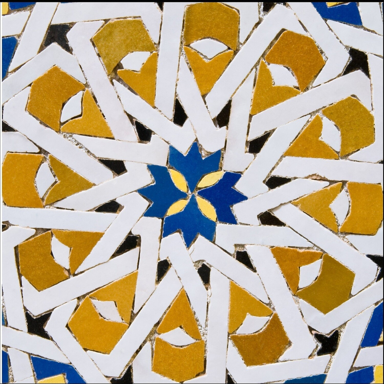 Blue & Orange Persian Girih Style Geometric Design Greeting Card