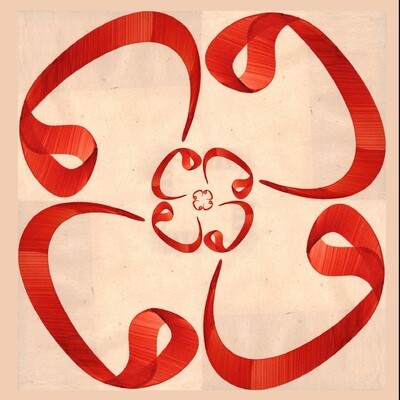 Cream & Red Wow Flower Design Greeting Card