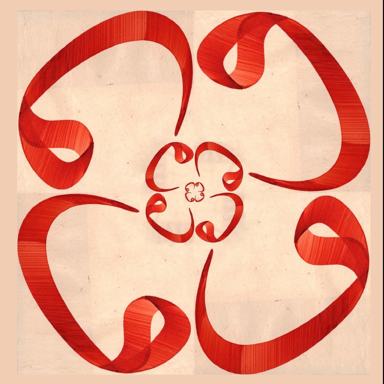 Cream & Red Waw Flower Design Greeting Card
