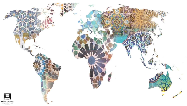 Geometric World Map Design Greeting Card