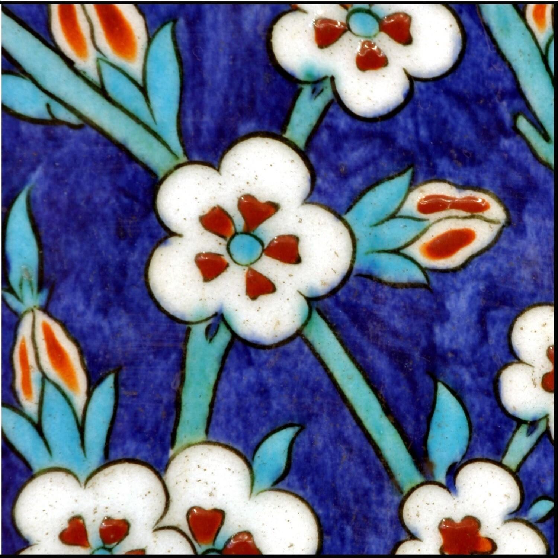Iznik Blue Floral Design Greeting Card